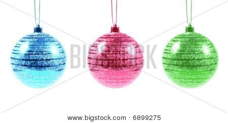 Three Christmas Ornaments On White (illustration)
