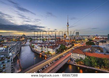 Berlin, Germany city skyline at dusk.