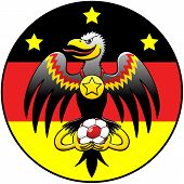 Black eagle with hooked beak, large wings and mischievous expression while holding a soccer ball, posing inside a circle with the German flag and three stars and showing a fourth star in a gold medal poster