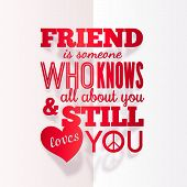 Vector typography paper design with quote about friendship poster