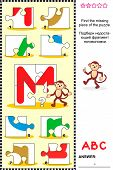 What's missing? Visual educational puzzle to learn with fun the letters of English alphabet: letter M (M is for monkey). Answer included. poster