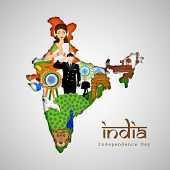 India at a glance, Republic of India map covered by Indian traditional culture, famous monuments, national bird and saluting soldier for Independence Day celebrations.  poster