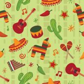 seamless mexican pattern wallpaper with clipping mask poster