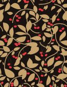 Vector seamless pattern displaying ornamental leaves and cherries. poster