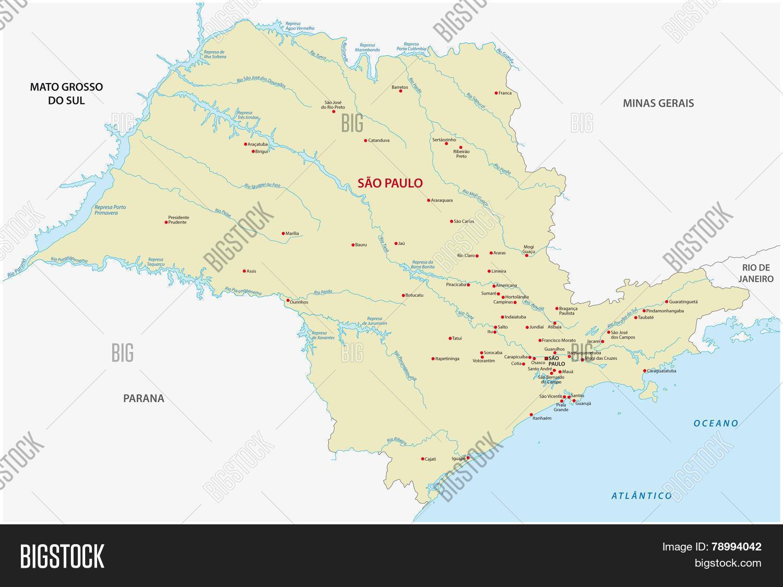 Sao Paulo State Map.Sao Paulo State Map Vector Photo Free Trial Bigstock