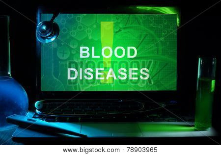 Notebook with words blood diseases
