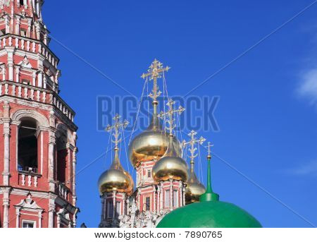 cupola of church with crosses on sky background poster