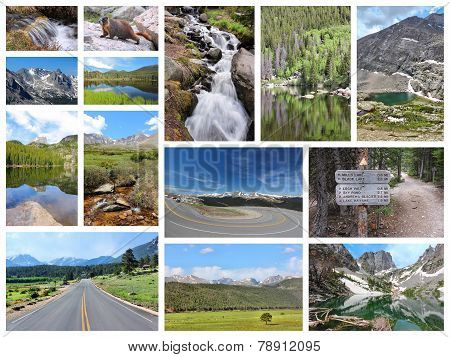 United States - Rocky Mountain National Park photo collage. Colorado scenic views. poster