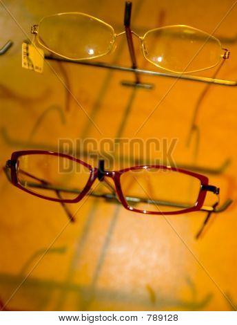 eye glass frames on wall display