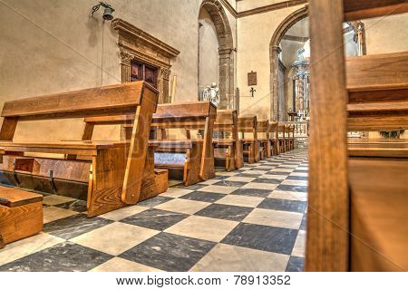Row Of Pews In Santa Maria Church In Alghero
