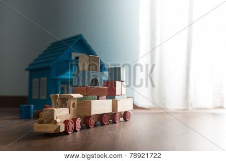 Wooden Toys On The Floor