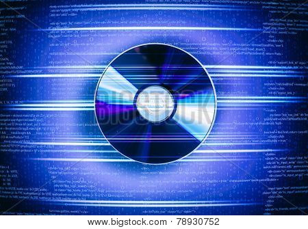 One cd disc on blue digital background