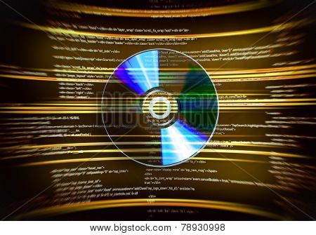 One cd disc on yellow digital background