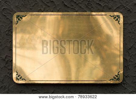 Shiny brass yellow metal sign plate texture isolated with clipping path