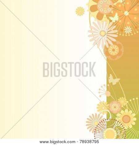 Floral  Background In Greenish-orange
