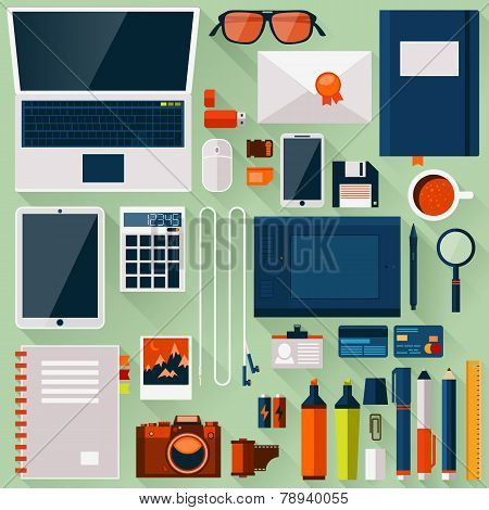 Flat Office Workplace Environment, Tools And Essentials