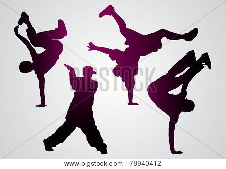 Breakdancers  Black Silhouettes
