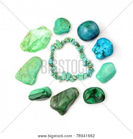 Green And Turquoise Gemstones, Isolated On White Background