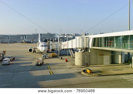 PARIS - SEP 10: Charles de Gaulle Airport on September 10, 2014 in Paris, France. Charles de Gaulle Airport, is one of the world's principal aviation centres