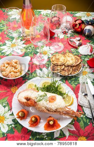 Lobster and seafood decorated on the table