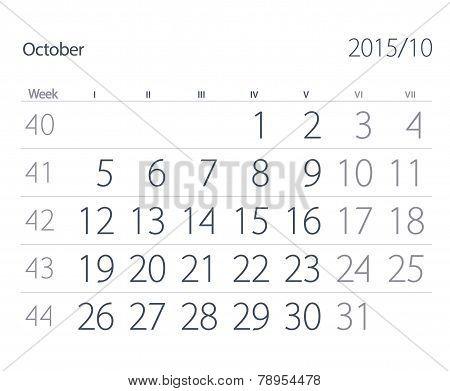 2015 Year Calendar. October