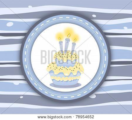 Birthday Cake Label Card - Stripey Blue Background