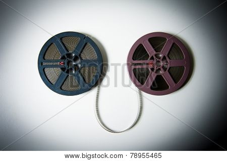 8Mm Movie Reels Connected With Film In  Color Effect