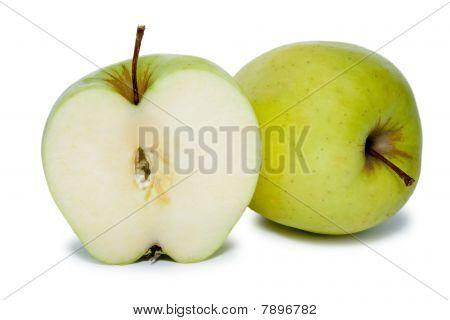 green slited apple