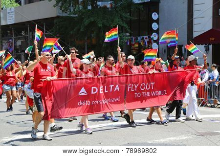 Delta Airlines LGBT Pride Parade participants in New York City