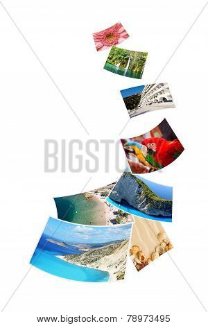Photos Of Holiday On White Background.