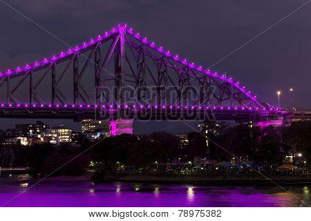 Brisbane Story Bridge closeup by Night