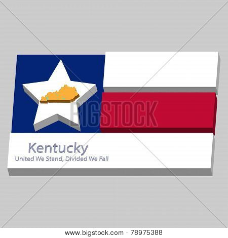 The Outline Of The State Of Kentucky Is Depicted On The Background Of The Stars Of The Flag Of The U
