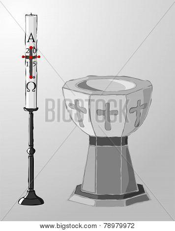 Baptismal font and paschal candle, baptism