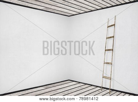 white wall with a wooden ladder