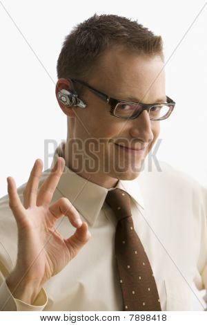Businessman Gives the Okay Signal - Isolated
