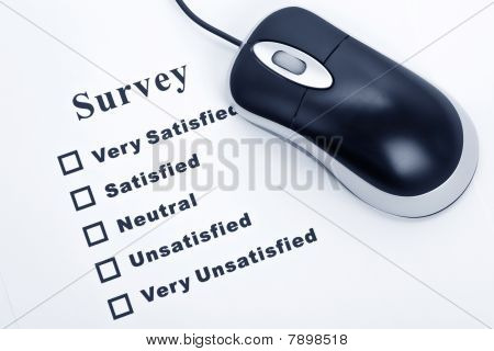 Survey questionnaire and computer mouse business concept poster