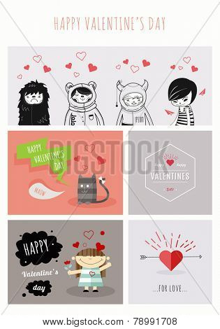 Happy Valentine's Day. Valentines Day design for poster, greeting card, flyer or what you need. 100% vector shape. Fully editable in Illustrator.