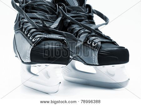 new and modern black skates on white background