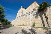 Santa Clara Convent and wall in Tordesillas, side view, wide angle poster
