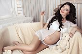 fashion photo of beautiful pregnant woman with long dark hair posing in cozy interior poster