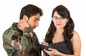 distraught military soldier veteran ptsd in therapy with psychologist isolated on white poster