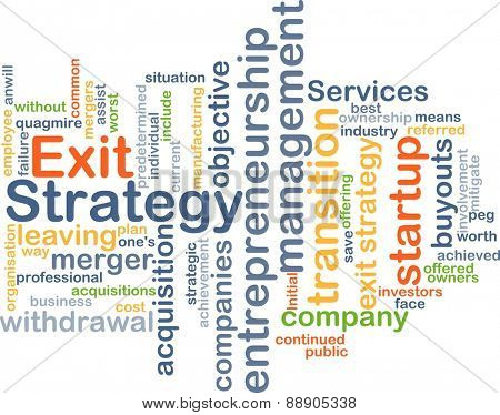 Background text pattern concept wordcloud illustration of exit strategy
