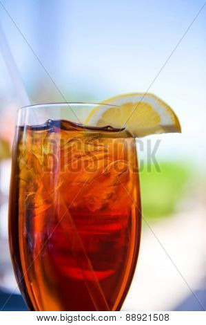 Cold Glass Of Iced Tea