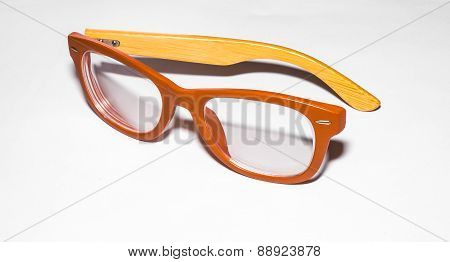 broken glasses on white background