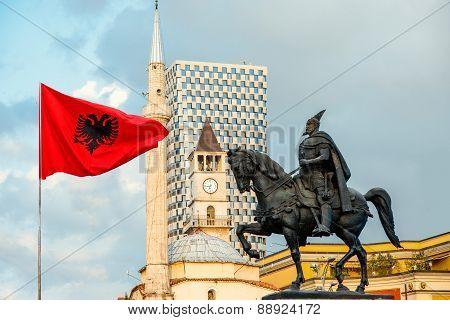 Monument of Skanderbeg in Tirana
