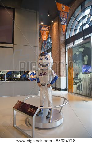New York Mets mascot, Mr. Met, on display at the  Citi Field