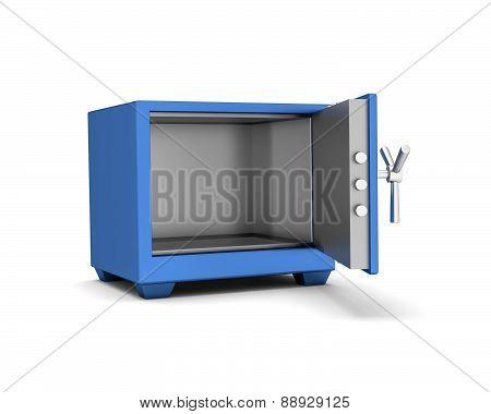 Safety Deposit Box Blue Color On A White Background. 3D Render