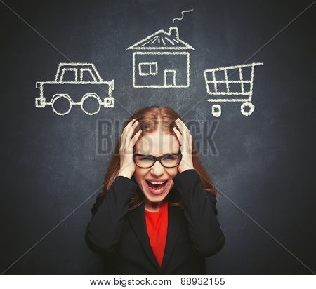 Business Woman Housewife In Stress From Many Businesses, Work, Home, Shopping