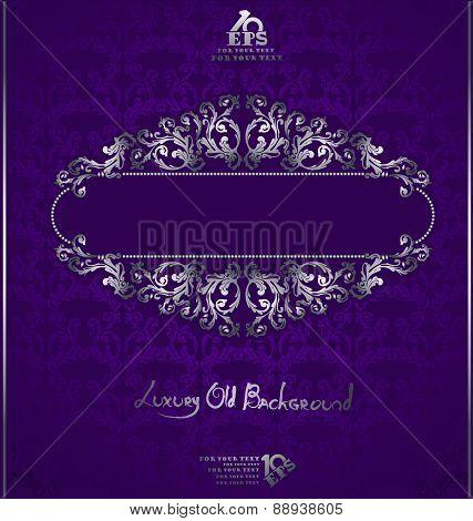 Florish violet Background with silver pattern around banner