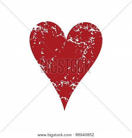 Red grunge heart card logo
